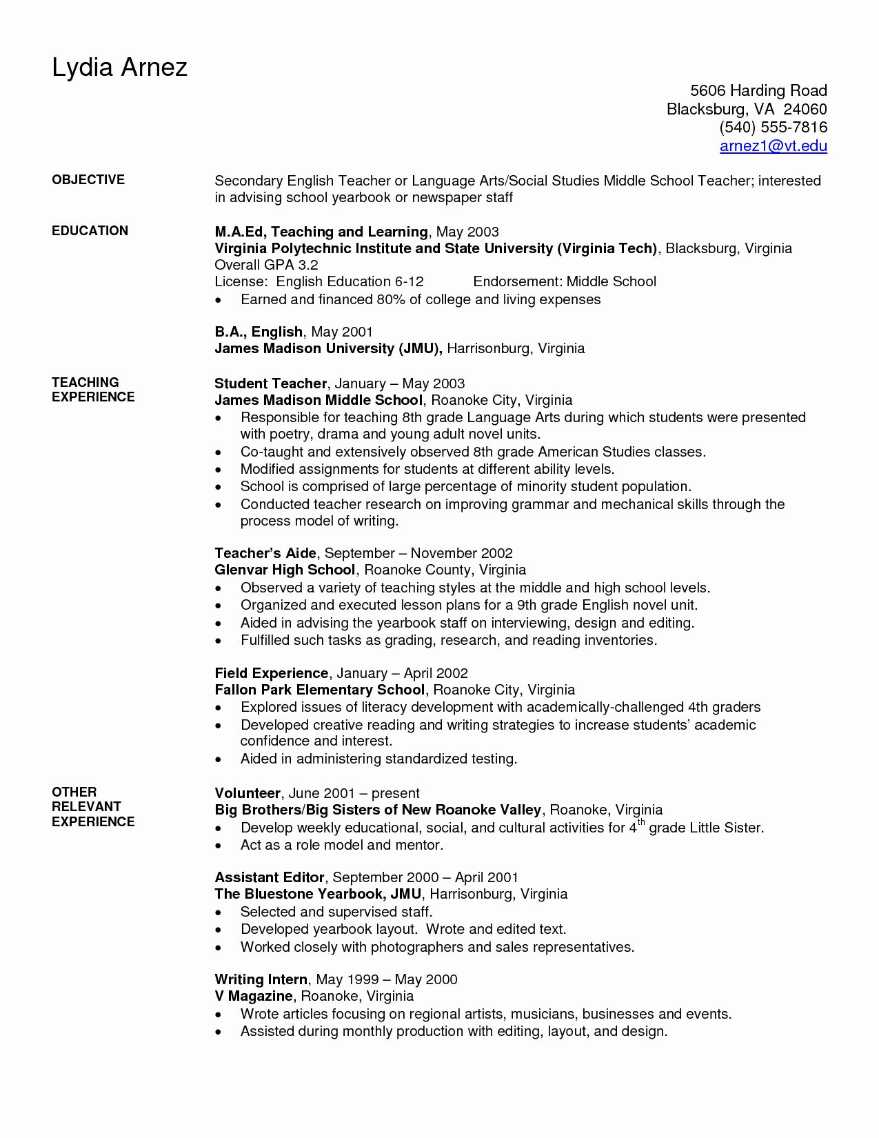 high school teacher resume examples inspirational art sample secondary elementary of Resume Sample Resume Of English Teacher For High School