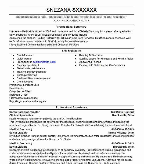 home care staffing coordinator resume example daily basic agency silver spring client Resume Client Service Coordinator Job Description For Resume