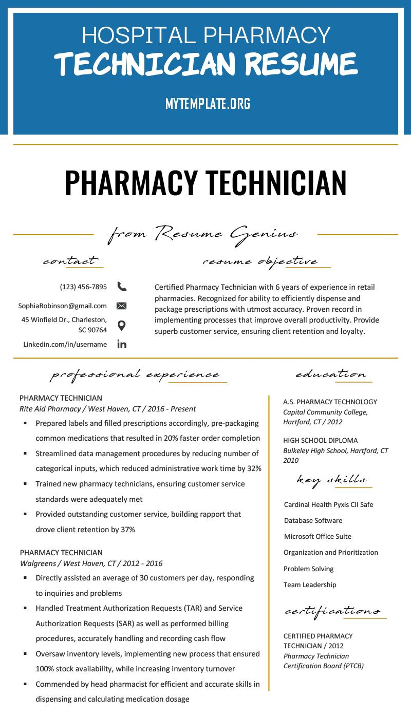 hospital pharmacy technician resume free templates duties of example amp writing tips pin Resume Pharmacy Technician Duties Resume