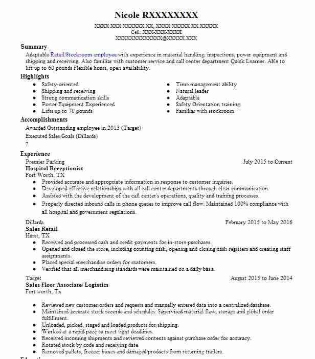 hospital receptionist resume example livecareer objective for healthcare workers format Resume Resume Objective For Healthcare Workers
