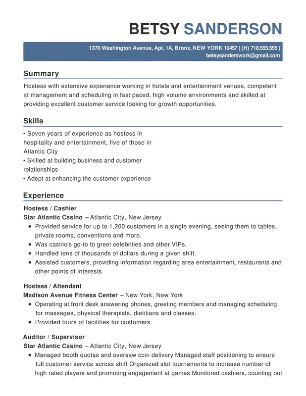 hotel hospitality functional resume samples examples format templates help entertainment Resume Entertainment Skills Resume