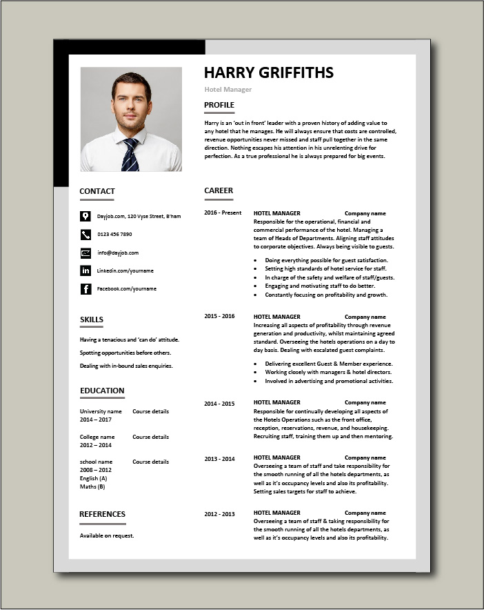 hotel manager cv template job description example resume people skills jobs professional Resume Professional Hotelier Resume