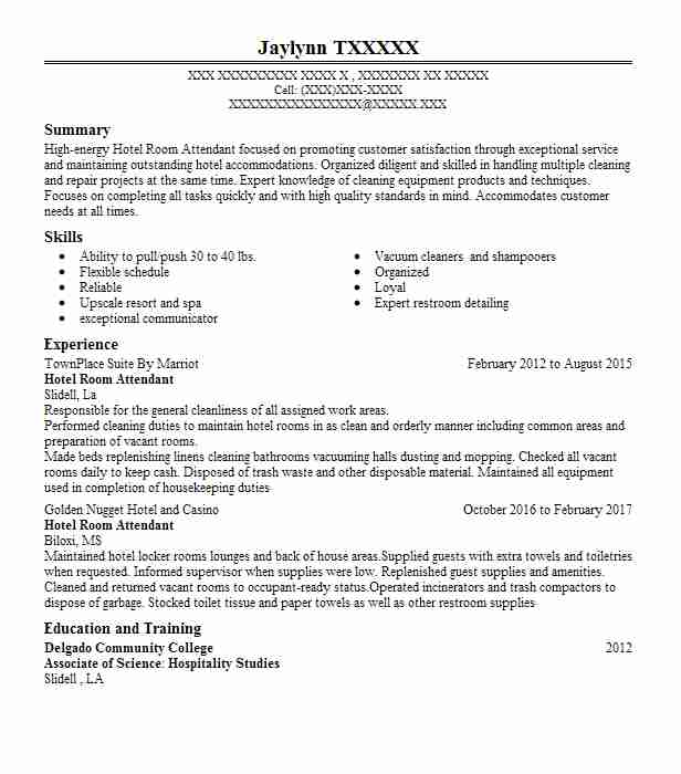 hotel room attendant resume example resumes livecareer duties and responsibilities lawn Resume Hotel Room Attendant Duties And Responsibilities Resume