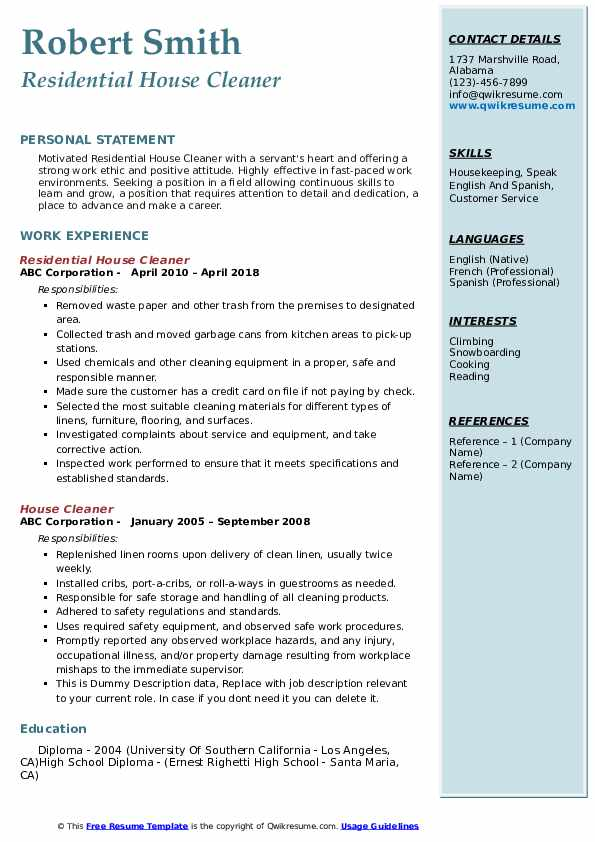 house cleaner resume samples qwikresume self employed pdf catchy summary for selenium Resume Self Employed House Cleaner Resume