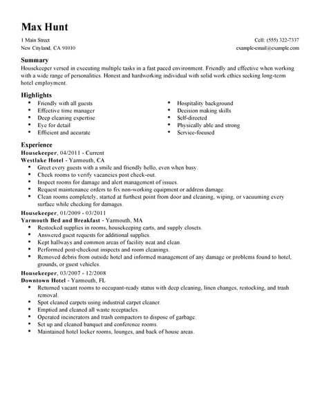 housekeeping resume sample best examples template free general objective for job fair Resume Housekeeping Resume Template Free