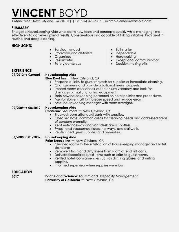 housekeeping resume sample monster examples hous good skills template free bachelor of Resume Housekeeping Resume Template Free