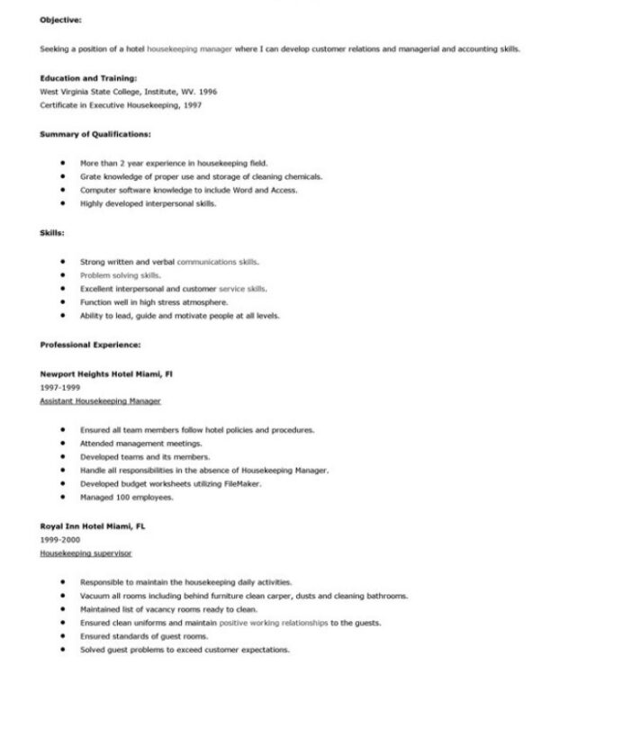 housekeeping resume with no experience free templates for job objective sample best font Resume Sample Resume For Housekeeping Job