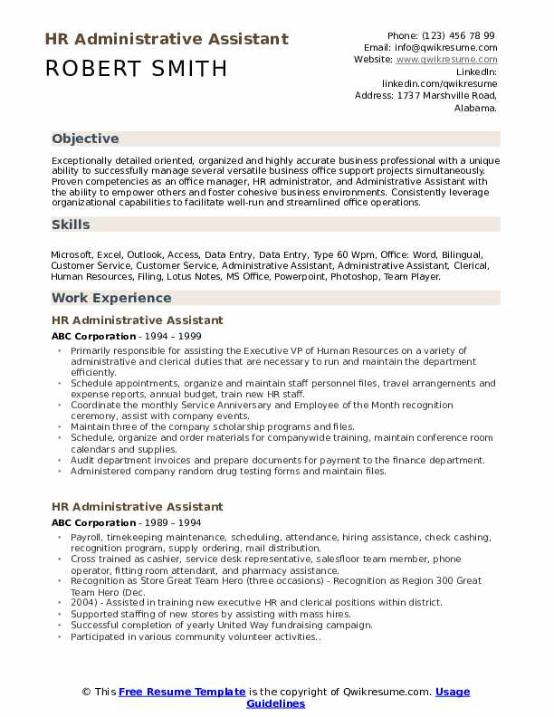 hr administrative assistant resume samples qwikresume example of pdf parser test hotel Resume Example Resume Of Administrative Assistant
