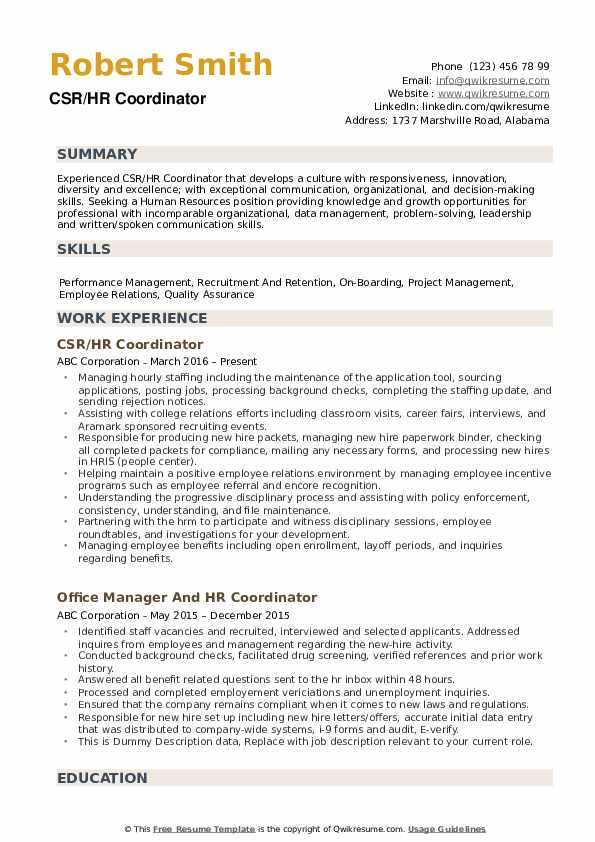hr coordinator resume samples qwikresume human resources pdf the relevant letterhead Resume Human Resources Coordinator Resume