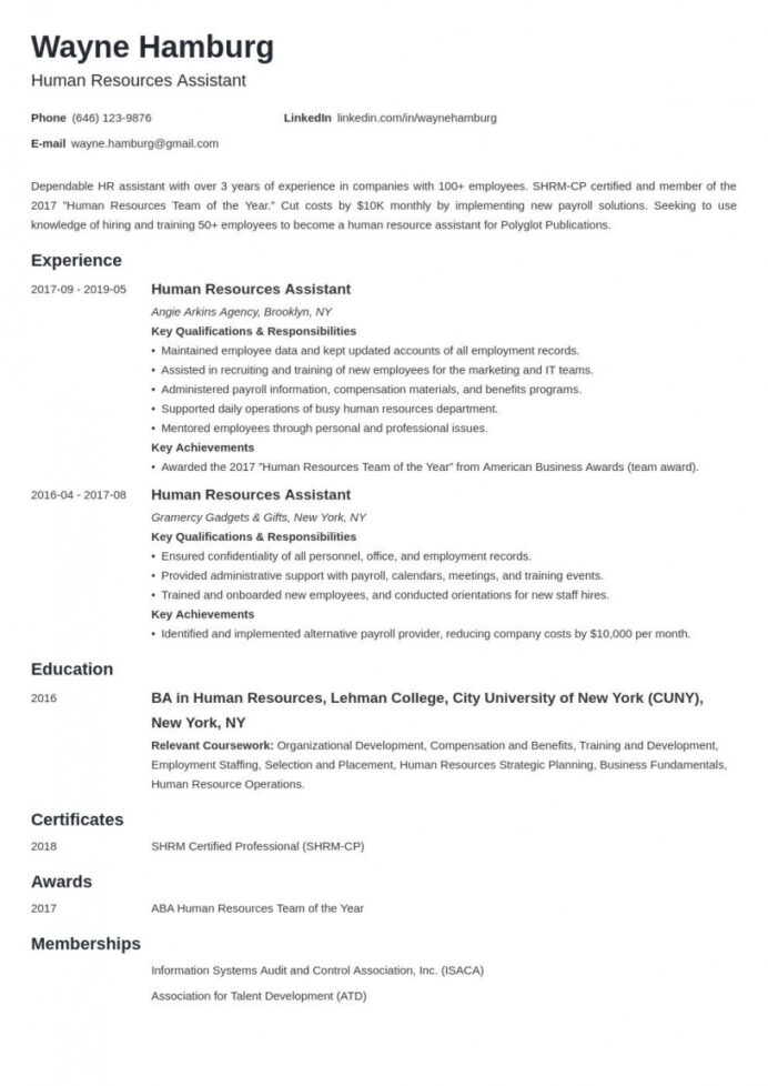 human resource resume template addictionary entry level hr unique resources example cours Resume Entry Level Hr Resume