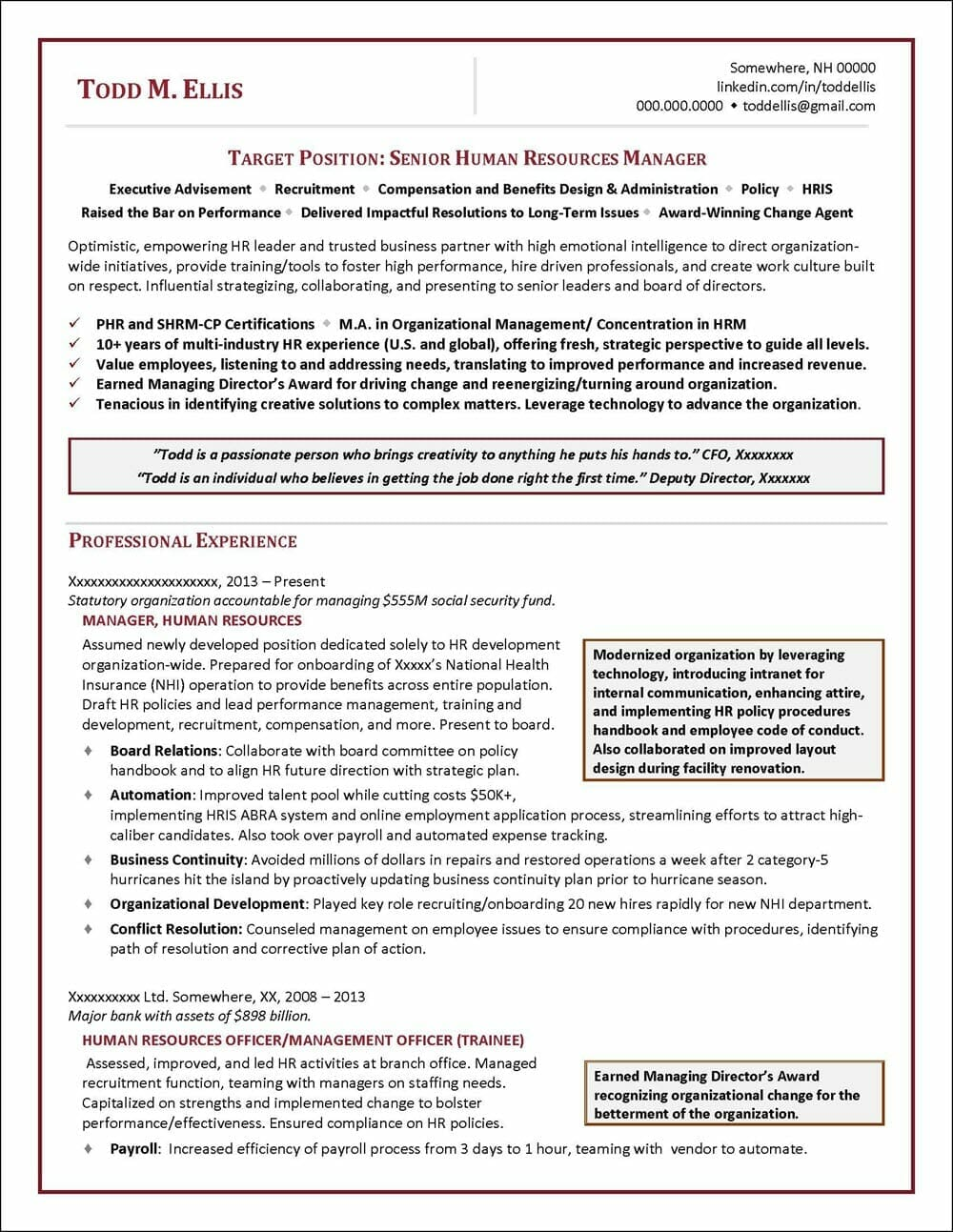 human resources manager resume distinctive career services compensation and benefits Resume Compensation And Benefits Manager Resume