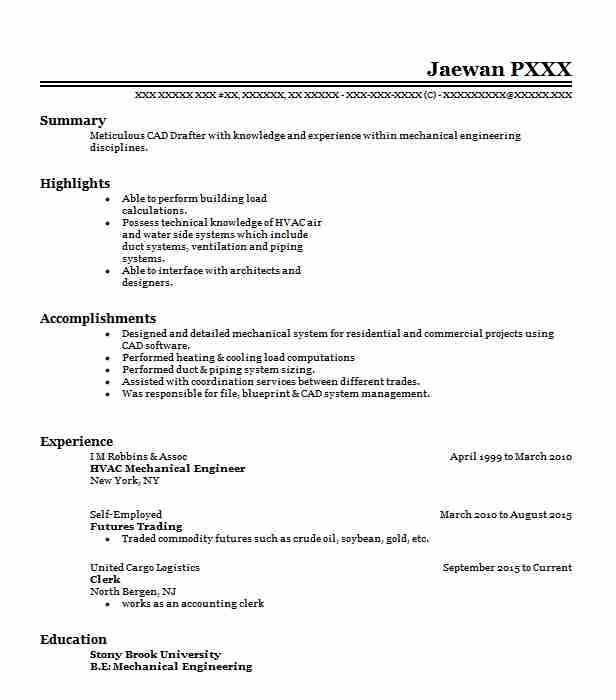 hvac mechanical engineer resume example livecareer engineering objective intro paragraph Resume Mechanical Engineering Resume Objective