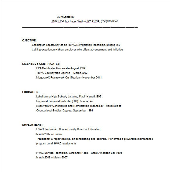 hvac resume template free word excel pdf format premium templates technician service high Resume Hvac Technician Resume Pdf