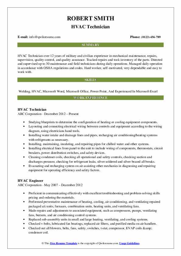 hvac technician resume samples qwikresume pdf upgrade reviews olx search good summary for Resume Hvac Technician Resume Pdf
