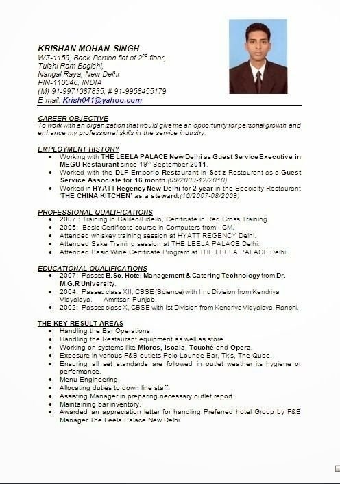 image result for resume format hotel management fresher job in word professional hotelier Resume Professional Hotelier Resume