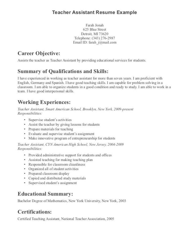 image result for teacher aide resume with no experience examples job samples teaching Resume Elementary Teacher Assistant Resume