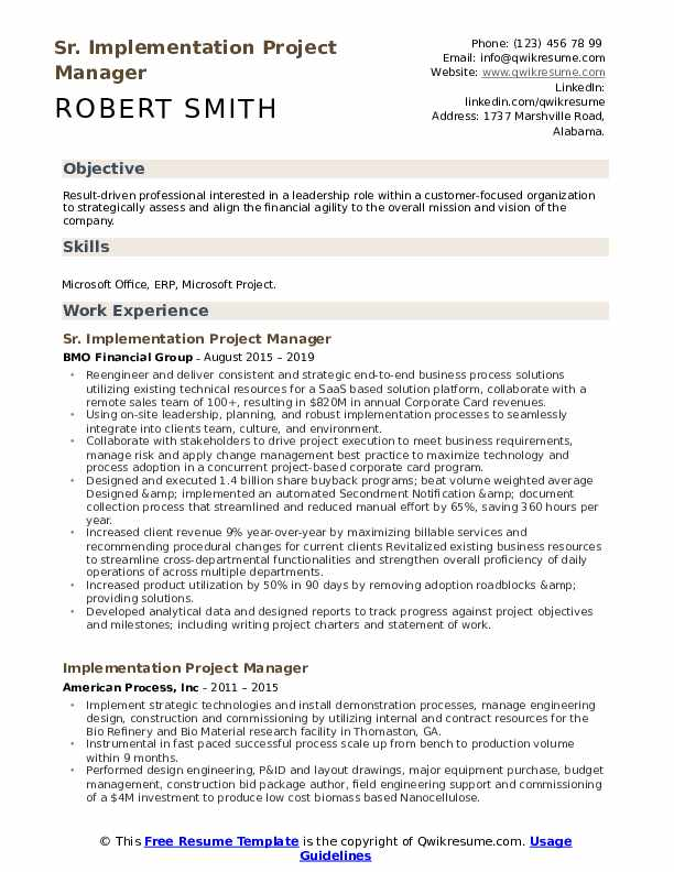 implementation project manager resume samples qwikresume objective pdf chocolatier Resume Project Manager Resume Objective