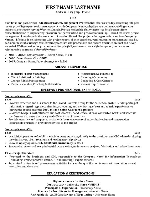 industrial project manager resume sample template it punctuation successfactors lms and Resume It Project Manager Resume Sample