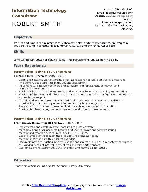 information technology consultant resume samples qwikresume service pdf draft example Resume Information Technology Resume Service