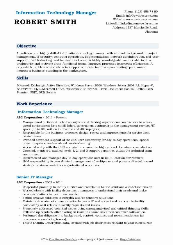 information technology manager resume examples luxury it samples job template address on Resume Information Technology Resume Template