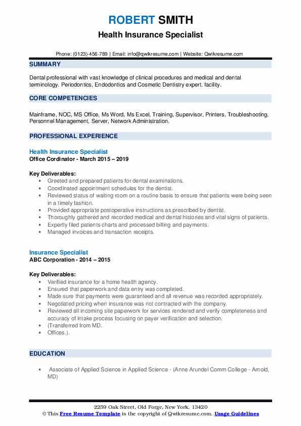 insurance specialist resume samples qwikresume medical pdf summary for cabin crew the Resume Medical Insurance Resume