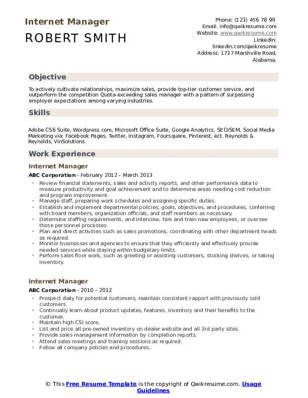 internet manager resume samples qwikresume experience pdf social service worker templates Resume Internet Experience Resume