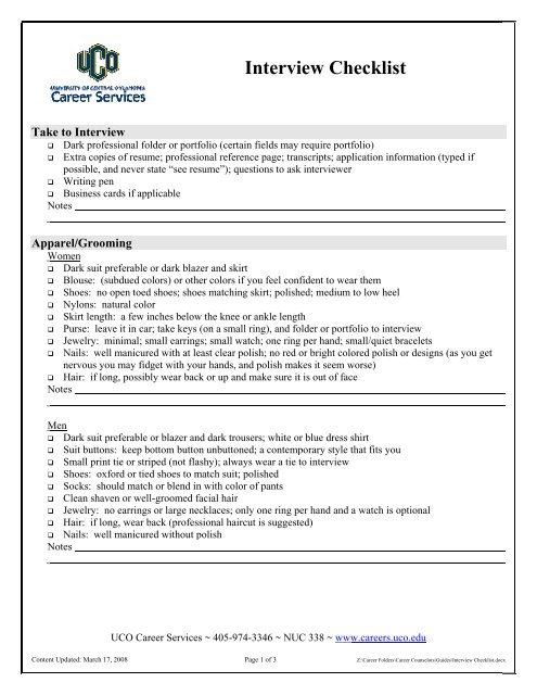 interview checklist uco career services professional resume folder certified writers Resume Professional Resume Folder