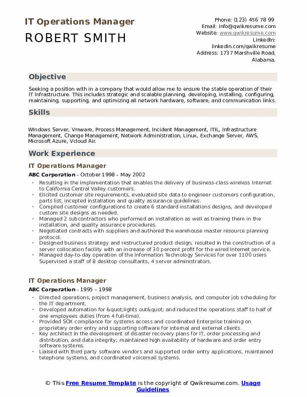 it operations manager resume samples qwikresume sample pdf insurance agent job Resume Operations Manager Resume Sample