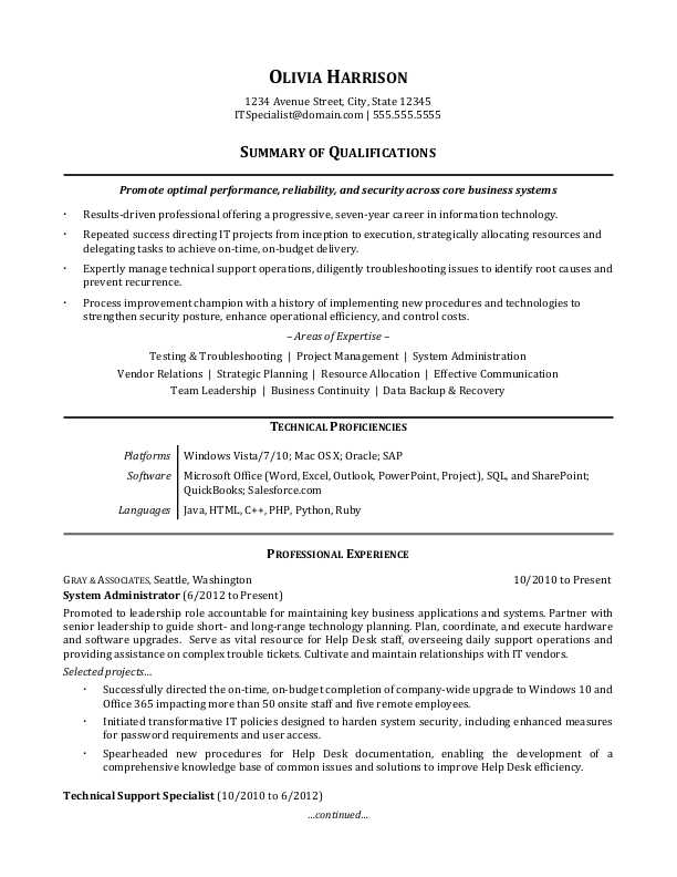 it professional resume sample monster summary generalist for refrigeration and Resume Professional Summary Resume Sample