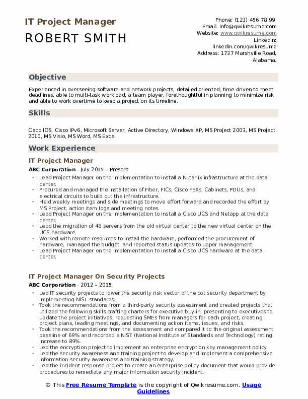 it project manager resume samples qwikresume sample pdf engineering supervisor summary Resume It Project Manager Resume Sample