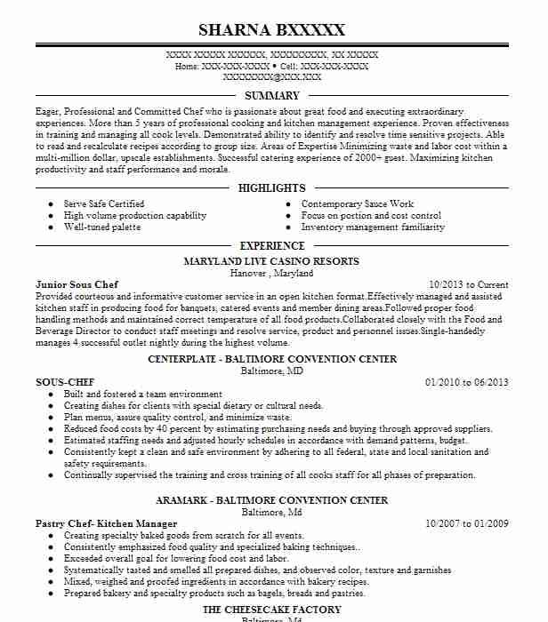 junior sous chef resume example resumes livecareer sample professional cover letter for Resume Sous Chef Resume Sample