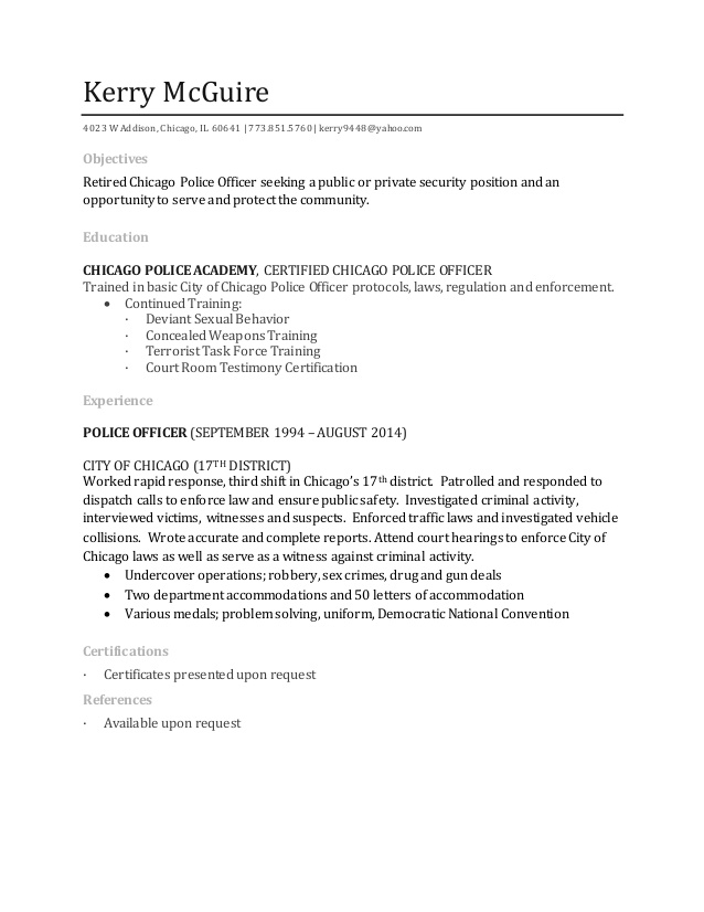 kerry mcguire resume retired police officer sample for bpo voice process experienced Resume Retired Police Officer Resume