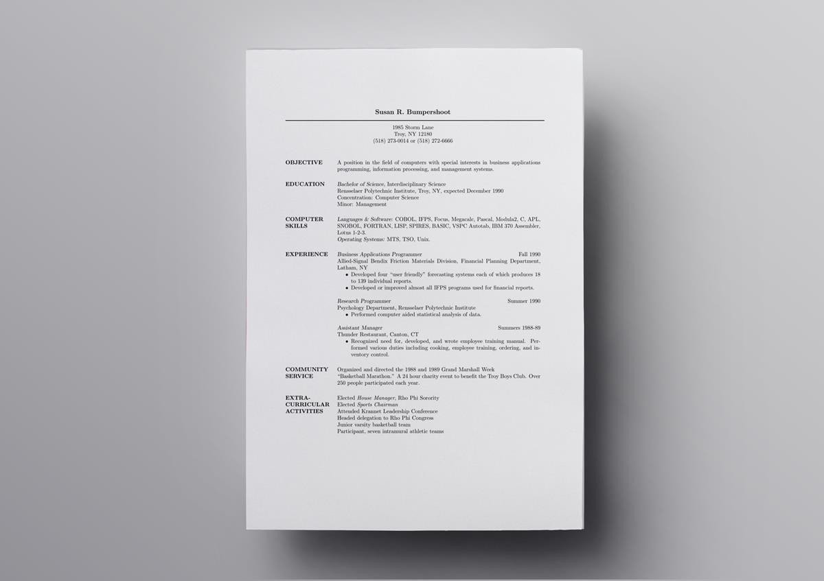 latex resume templates cv computer science template assistant bar manager multiple Resume Computer Science Latex Resume Template