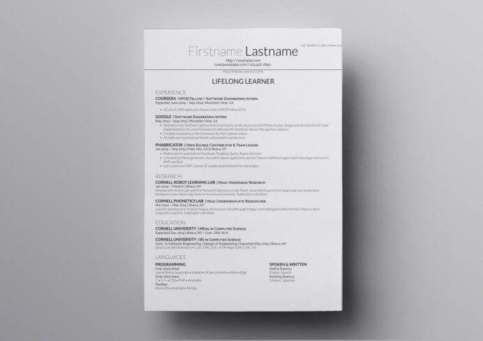 latex resume templates cv computer science template puppet pharmacy technician externship Resume Computer Science Latex Resume Template