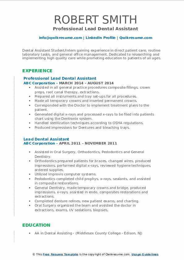 lead dental assistant resume samples qwikresume examples pdf various types of format Resume Dental Assistant Resume Examples