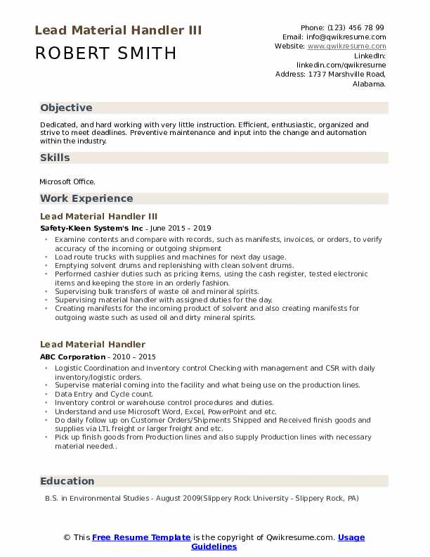 lead material handler resume samples qwikresume warehouse pdf contoh mudah dan ringkas Resume Warehouse Material Handler Resume