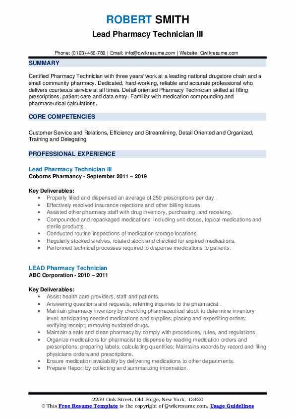 lead pharmacy technician resume samples qwikresume duties pdf algorithm marketing Resume Pharmacy Technician Duties Resume