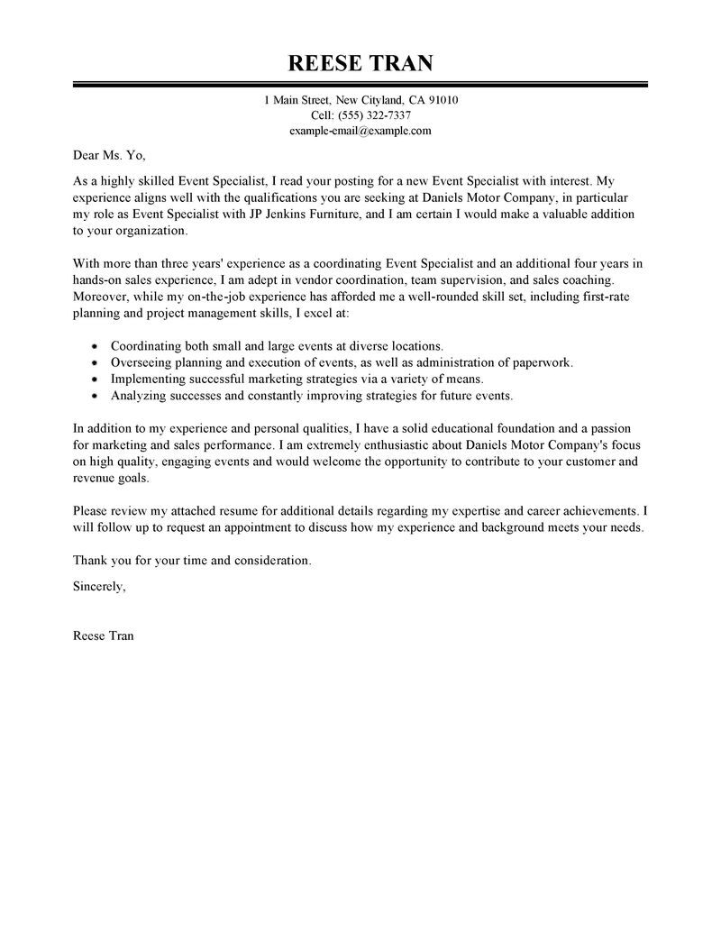 leading professional event specialist cover letter examples resources myperfectresume Resume Event Specialist Resume
