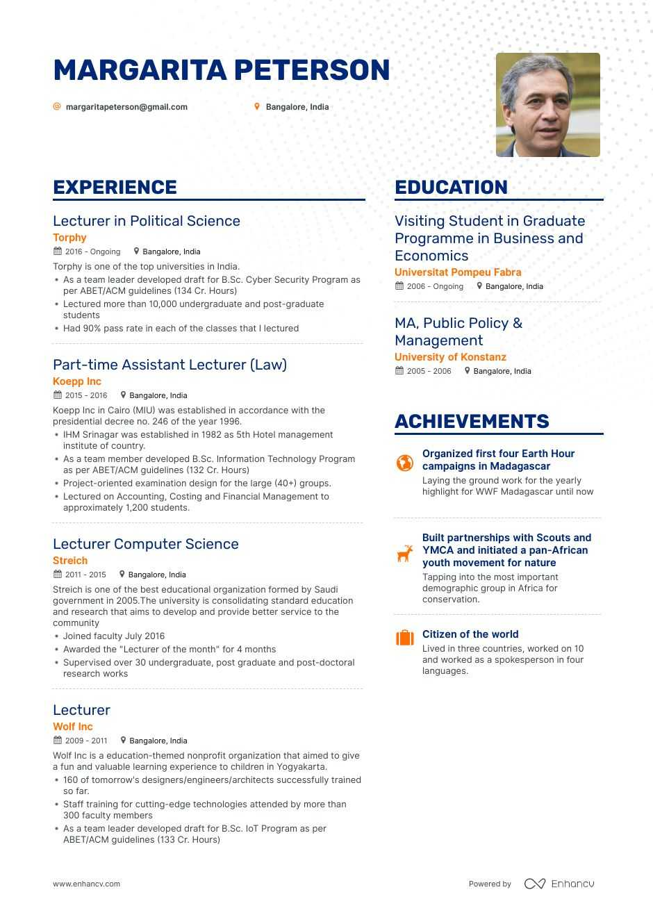 lecturer resume example for enhancv experience h1b driver helper sample free builder Resume Lecturer Experience Resume