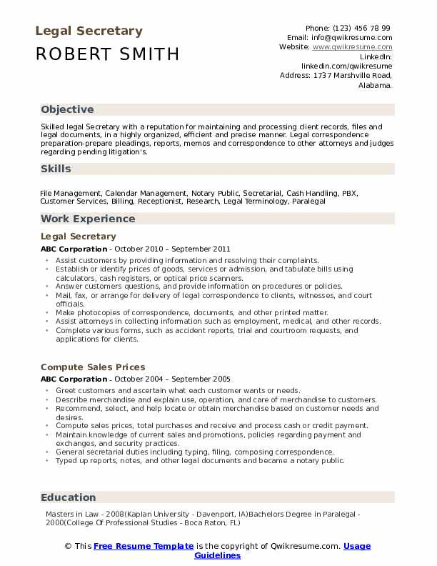 legal secretary resume samples qwikresume template free pdf manual testing automotive Resume Secretary Resume Template Free
