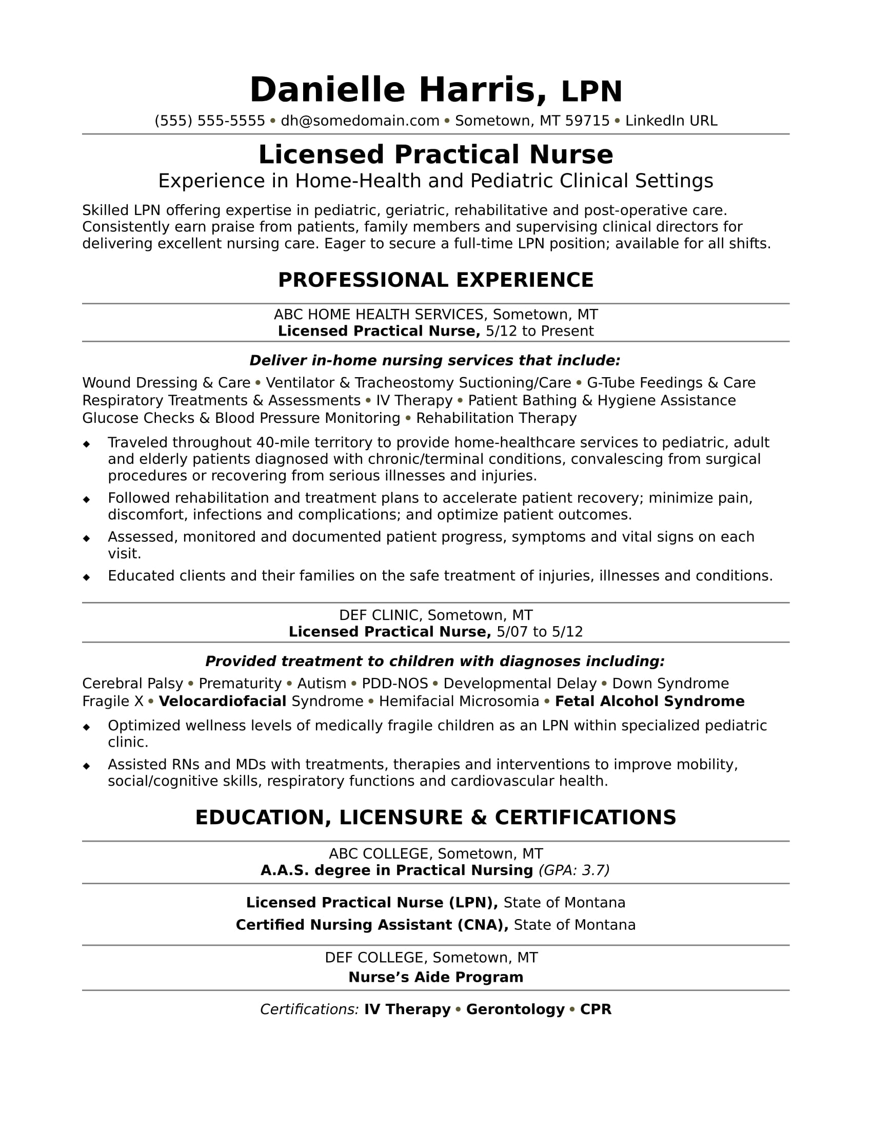 licensed practical nurse resume sample monster lpn nursing examples retail manager Resume Lpn Nursing Resume Examples