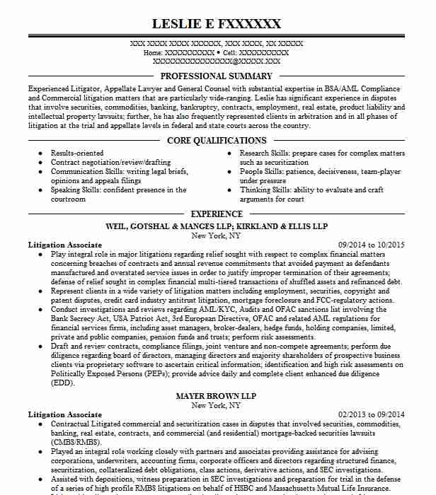 litigation associate resume example jenner block llp chicago experience fashion stylist Resume Litigation Experience Resume