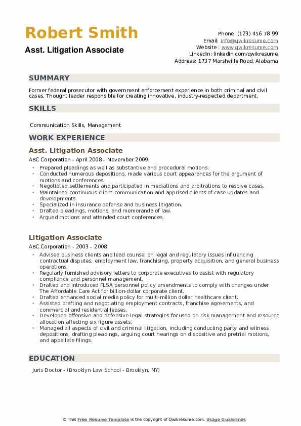 litigation associate resume samples qwikresume experience pdf free extractor new Resume Litigation Experience Resume