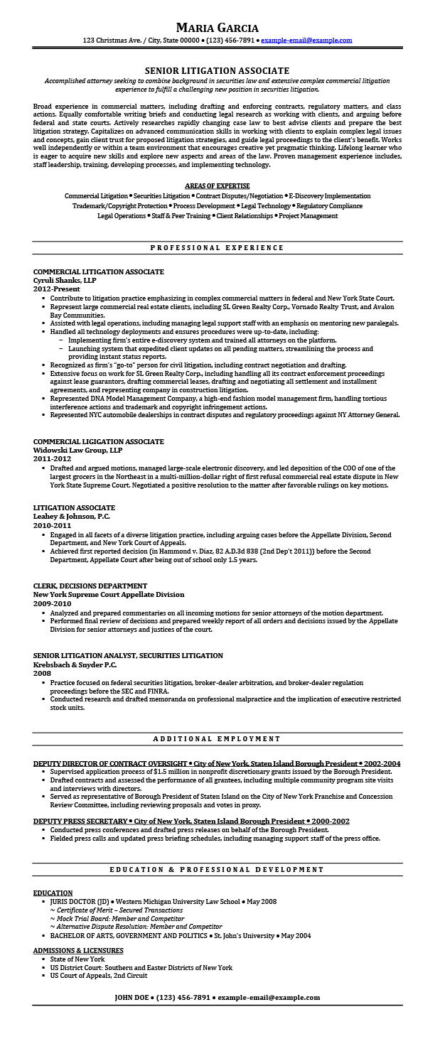 litigation attorney resume samples templates tips attorneyresume experience sample after Resume Litigation Experience Resume