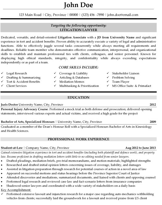 litigation lawyer resume sample template experience student secretary for testing Resume Litigation Experience Resume