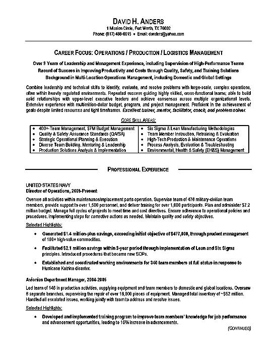 logistics resume example operations production military template military3a executive Resume Military Resume Template