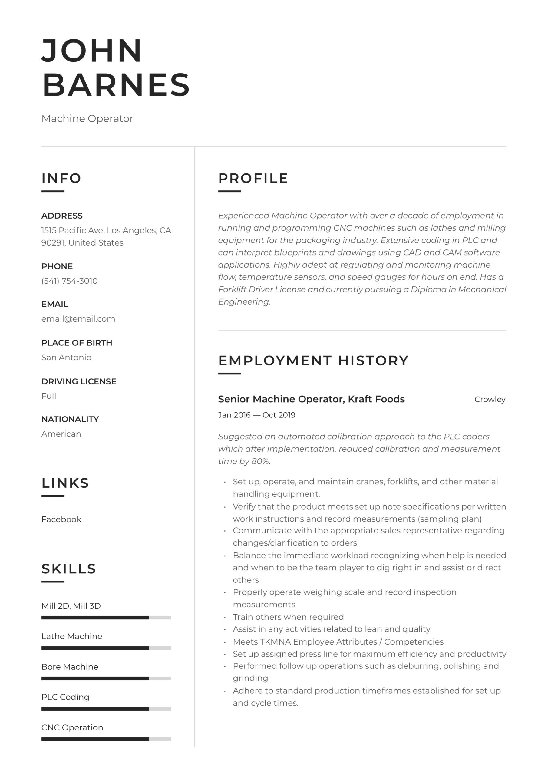 machine operator resume writing guide templates packaging hcc coder sample format for Resume Packaging Operator Resume