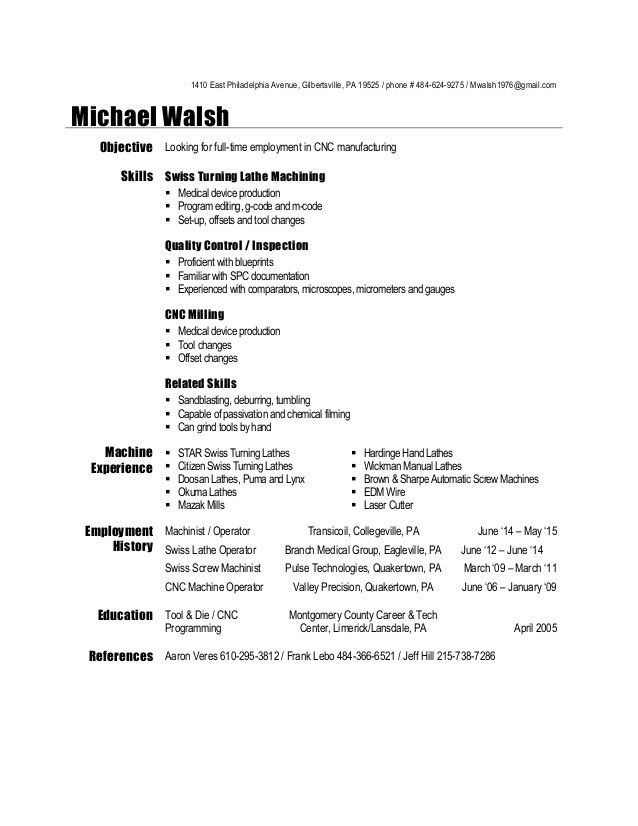 machinist resume examples of resumes cnc template can you make on microsoft word high Resume Cnc Machinist Resume Template