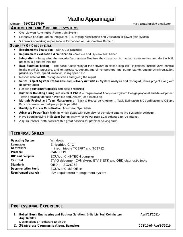 madhu resume automotive software engineer assistant manager examples latest format for Resume Automotive Software Engineer Resume