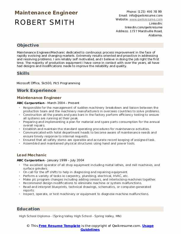 maintenance engineer resume samples qwikresume plant pdf pastry chef template submit your Resume Plant Maintenance Engineer Resume